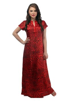 The Red Animal Print Truly Cut Indian Kaftan Stitching Details Around Neck Pure Soft Satin