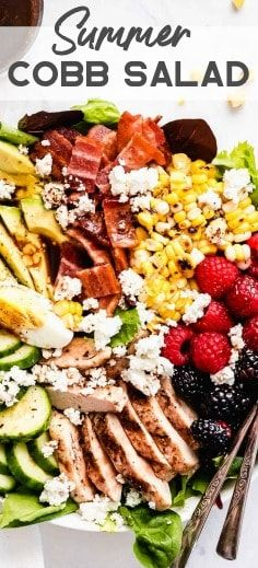 Summer Cobb Salad is filled with fresh summer fruits and veggies. It's loaded … The Summer Cobb salad is filled … Chili Lime Chicken, Chicken Bacon, Balsamic Chicken, Boiled Egg Salad, Boiled Eggs, Cobb Salad Ingredients, Cobb Salad Dressing, Coleslaw Salad, Marinated Grilled Chicken