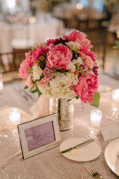 hydrangea and pink peony wedding centerpiece