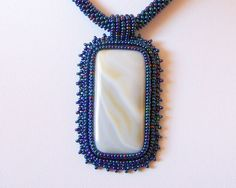 Beautiful Venus  Bead Embroidery Necklace with White by lutita, $75.00
