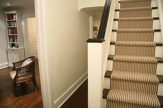 Excellent Striped-Stair-Runner For Staircase: Wonderful Stripe Stair Runner That Is Fabricated From Wall To Wall Broadloom Carpet At Traditional Staircase ~ aureasf.com Furniture Inspiration