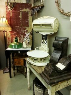 booth display...vintage grocery scale
