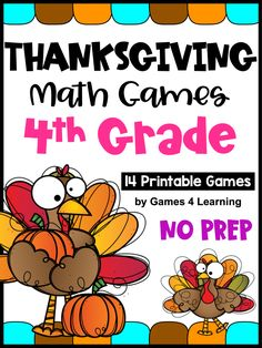 This pack includes 14 printable games that review a variety of fourth grade skills. These games are ideal as math center games. They review math concepts while providing engaging math activities with a Thanksgiving theme.