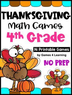 NO PREP Thanksgiving Math Games Fourth Grade with Turkeys, Pumpkins and Third Grade Math Games, Fourth Grade Math, Thanksgiving Writing, Thanksgiving Ideas, Fun Math, Math Activities, Math Board Games, Fun Games, Math Concepts