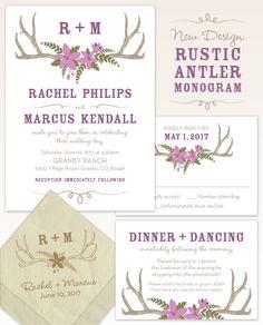 Rustic Antler Monogram Wedding Invitation Suite from The American Wedding.    #AntlerWedding #RusticWedding #MonogramWeddingInvitations #WoodlandWedding #CountryWedding #FallWedding #RanchWedding