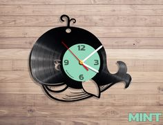 Amazon.com: Whale vinyl record wall clock: Home & Kitchen