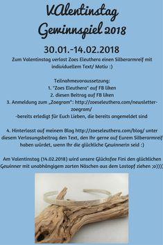 Valentinstag 2018 Gewinnspiel Silberarmreif Wunschtext Wunschmotiv