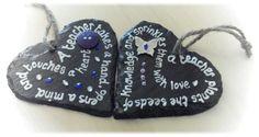 Small slate 'Teacher' hearts - The Supermums Craft Fair