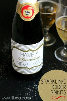 Have a Sparkling New Year. Sparkling Cider Prints on { lilluna.com } CUTE!