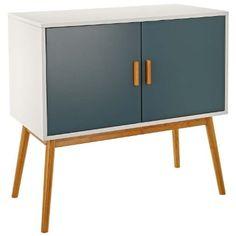 LOMOS® No.3 Cassettiera in legno, colore bianco, con due ante, in una moderna tonalità di grigio