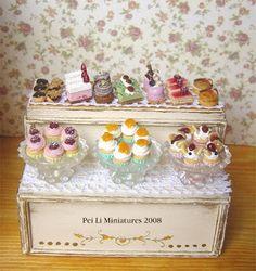 dollhouse miniature double layer cake display shelf