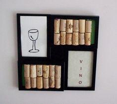 corks in frames w/ wine prints