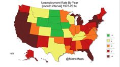 38 Years of Your State's Unemployment Data Displayed in One Map Unemployment Rate, First Animation, Map Globe, Let Freedom Ring, Cartography, Image Shows, Current Events, Animated Gif, United States