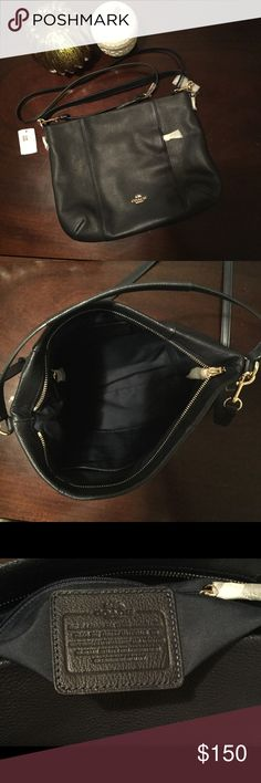 Coach Purse Coach Purse in Pebble Black Leather.  It has a front zipper pocket as well and comes with two straps so you can use it as a crossbody. NWT. Coach Bags