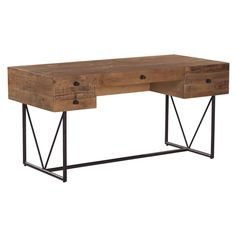 Simple and practical packed with rustic appeal, the distressed desk will add minimalist charm to your living space. The simple wooden top features a distressed wooden finish, mounted atop a metal blac
