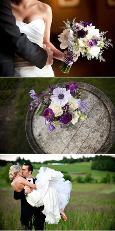purple, green and ivory bouquet. love love love.