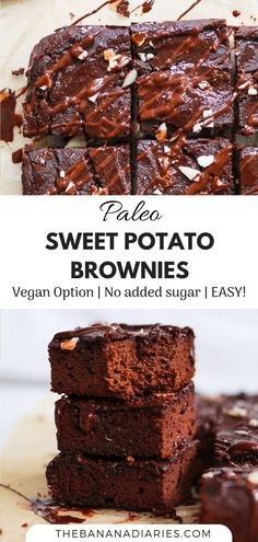Paleo Sweet Potato Brownies {vegan option} - The Banana Diaries - The easiest Paleo brownies made with sweet potato and completely gluten free, no added sugar, dairy - Paleo Brownies, Sweet Potato Brownies Vegan, Sweet Potato Dessert, Sugar Free Brownies, Paleo Sweet Potato, Sweet Potato Recipes, Sweet Potato Cake Recipe Healthy, Banana Brownies, Sugar Free Desserts