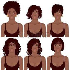 femme noire: Illustration Vecteur de Black Women Faces Idéal pour les avatars, les styles de cheveux de femmes afro-américaines