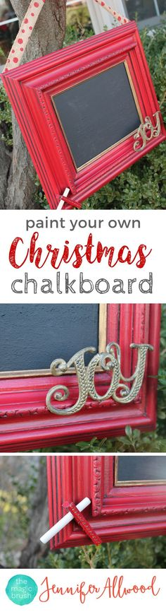 DIY Christmas Chalkboard Sign The Magic Brush These DIY painting projects make great personalized Christmas gifts. Easy to customize and fun to make! Personalized Christmas Gifts, Diy Christmas Gifts, Christmas Projects, Christmas Holidays, Christmas Decorations, Christmas Ideas, Homemade Christmas, Christmas Traditions, Holiday Ideas