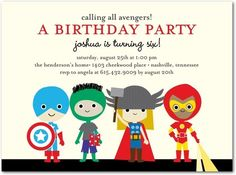 Birthday Party Invitations Adorable Avengers - Front : Vanilla