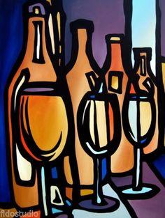 LINEUP-Original-Abstract-Modern-Art-Purple-huge-WINE-Painting-by-Fidostudio