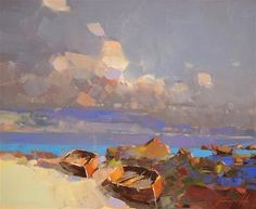 """Daily Paintworks - """"Rowboats on the Shore, Seascape oil painting, original art by palette knife."""" - Original Fine Art for Sale - © V Yeremyan"""
