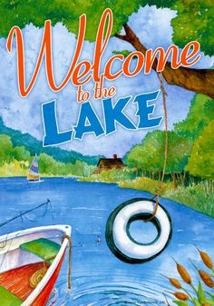 """Tire Swing """" Welcome to the Lake """" - 28 Inch X 40 Inch Standard Decorative House Size Flag Camping Equipment Rental, Flag Holder, Mailbox Covers, White Lake, Lake Art, Lake Cabins, House Flags, Flag Decor, Camping Activities"""