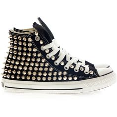 Holiday Promotion, Studded Converse, Silver Studs with converse Black... ($105) ❤ liked on Polyvore