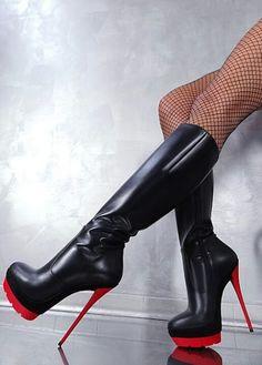 sky high black & red platform boots <3