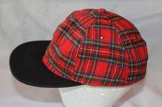 Vintage Red Plaid Snapback Hat Flannel  Made by ilovevintagestuff