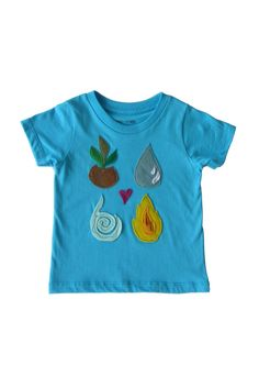 Four Elements: Hand Stitched Organic Cotton Mushpa + Mensa Designer Toddler Tee With Custom EcoFi Felt Appliques My Daughter Birthday, To My Daughter, Earth Wind, Felt Applique, Custom Tees, Recycle Plastic Bottles, Hand Stitching, Appliques, Cool Shirts
