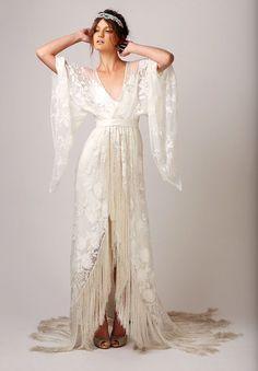 40s dress Hippie Chic Vestidos, Long Wedding Dresses, Fringe Wedding Dress, Wrap Wedding Dress, Wedding Kimono, Wedding Wraps, Bohemian Wedding Dresses, Viking Wedding Dress, Long Sleeve Wedding Dress Boho