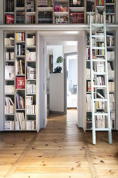 A new bedroom and library in an old apartment