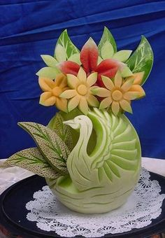 MELON SWAN AND FLOWERS!