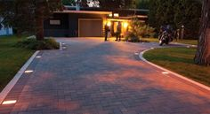 Holland driveway with paver lights