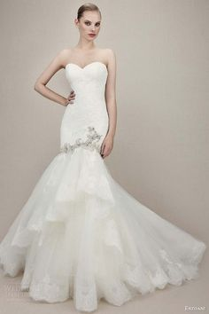enzoani 2016 bridal kennedy strapless sweetheart lace mermaid wedding dress tiered skirt silver beading