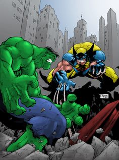 #Hulk #Fan #Art. (Hulk and Wolverine) By:Heman86. (THE * 5 * STÅR * ÅWARD * OF: * AW YEAH, IT'S MAJOR ÅWESOMENESS!!!™)[THANK Ü 4 PINNING!!!<·><]<©>ÅÅÅ+(OB4E)   https://s-media-cache-ak0.pinimg.com/564x/c9/16/5b/c9165bd0bc8af6eda14b1d45fab616a3.jpg