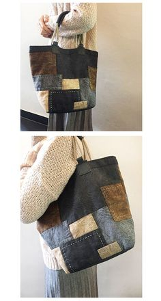 Jenn Harms's media content and analytics Denim Patchwork, Patchwork Bags, Quilted Bag, Sacs Tote Bags, Denim Crafts, Recycle Jeans, Unique Bags, Denim Bag, Fabric Bags