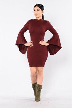 You Remind Me Dress - Burgundy   Fashion Nova