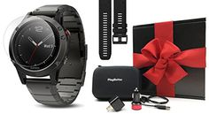 Garmin fenix 5 Sapphire Slate Gray with Metal Band GIFT BOX  Bundle includes Extra Silicone Band Black Screen Protector PlayBetter USB CarWall Adapter Protective Case  MultiSport GPS Watch -- Click image for more details. Note: It's an affiliate link to Amazon