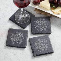 Personalized Elegant Snowflake Slate Coasters, Gray