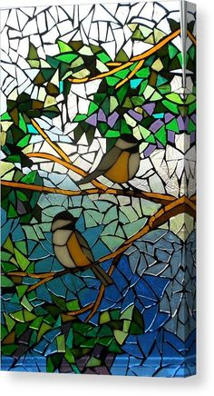 Mosaic Glass Art - Mosaic Stained Glass - Two Little Chickadees by Catherine Van Der Woerd Stained Glass Birds, Stained Glass Designs, Stained Glass Patterns, Mosaic Designs, Free Mosaic Patterns, Stained Glass Quilt, Art Patterns, Mosaic Garden Art, Mosaic Tile Art