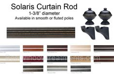 Solaris - Custom Select Wood Curtain Drapery Rod Set (rod, brackets, finials included) : Decorative for window, patio door or french doors  Offered in 12 wood finishes; Antique Pewter, Black, Black Gold, Black Walnut, Bronze, Linen, Mahogany, Mocha, Platinum, Vintage Gold, Walnut, Warm Oak or White. Choose from smooth or fluted poles with coordinating rings available.