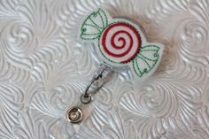 christmas candy  -professional nursing badge holder - retractable badge holder - badge reel - name badge holder - felt badge reel - nurse