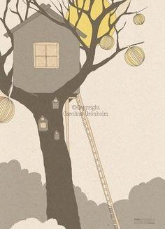 Tree House Illustration Print For Children's par latenightdrawing, $18.00