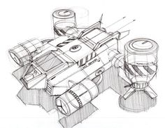 Sketch-A-Day 383: Sketch of a spaceship by industrial designer Spencer Nugent | Sketch-A-Day | Sketches by Spencer Nugent