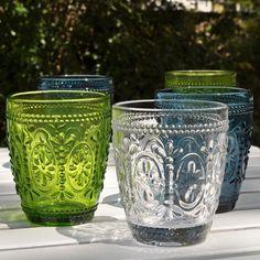 Coloured Pressed Glass Tumblers