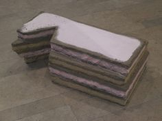 Karla Black, Myths Allow, 2010, Sterilised topsoil, spray paint, polystyrene, 41 x 122 x 66,5 cm