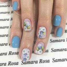 @rosa.samara Light Blue Nails, Love Nails, Nail Colors, Nailart, Beauty Hacks, Glitter, Makeup, Flowers, Nail Design