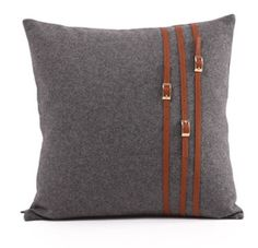 Gift Cushion Cover Wool Leather Belt Buckle Stripes Patchwork Grey Brown Cool Fashion Throw Pillow Case Sofa High Quality Ge19(China (Mainland))